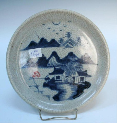 Chinese Blue & White Crackle-Glazed Plate 19th C.