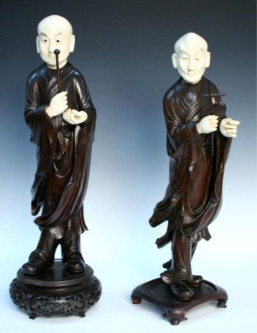 Chinese Ivory & Hardwood Figure Pair 19th Century
