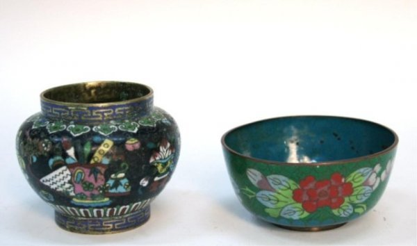 Two Small Chinese Cloisonne Bowls 19th Century
