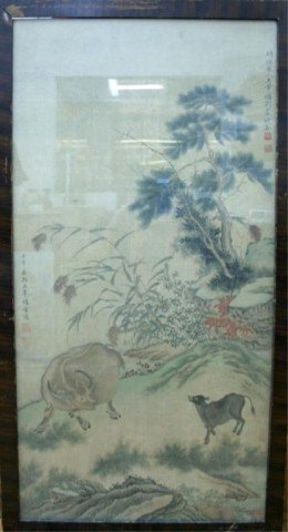 Chinese Framed Silk Painting 18th-19th Century