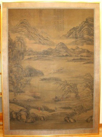 Chinese Large Silk Painting Figural Scene 18th C.