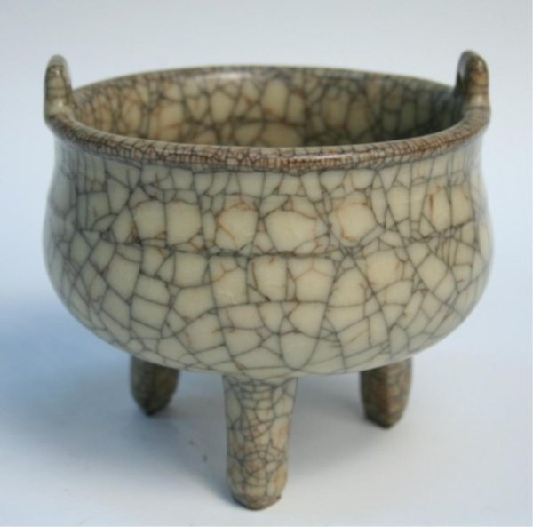 Chinese 3-Footed Crackle Glaze Censer 20th C.