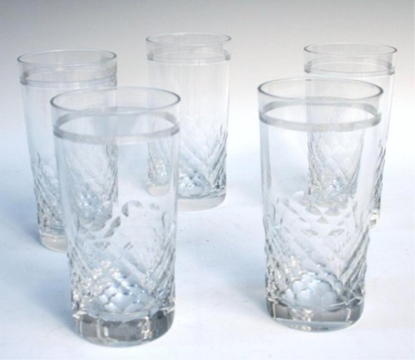 Five French Baccarat Crystal Glassware Set 1920s
