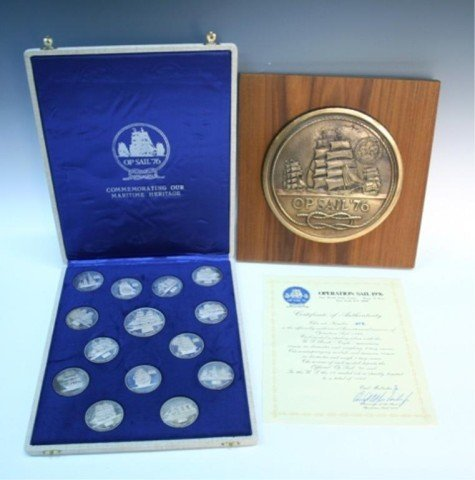 """1976 Bicentennial """"Op Sail"""" Sterling Medal Set"""