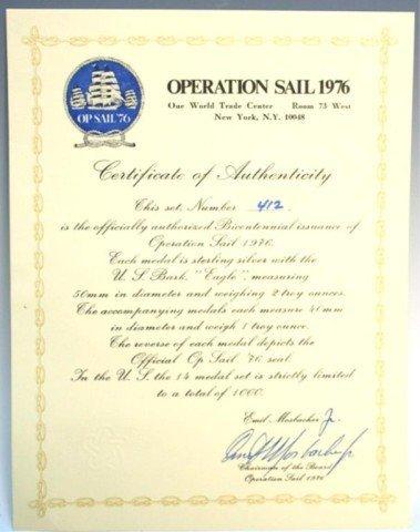 """1976 Bicentennial """"Op Sail"""" Sterling Medal Set - 5"""