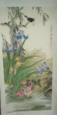 Chinese Scroll Tin Xi Guang Painting Birds Flowers