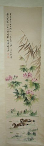 Chinese Scroll Mei Lang Fang Painting Flower Birds