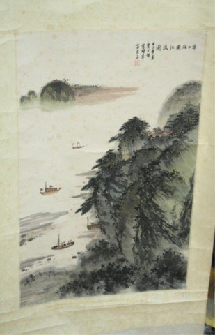 Chinese Scroll He Tian Jian Landscape Painting