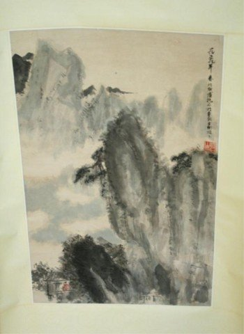 Chinese Scroll Painting of Mountain Landscape