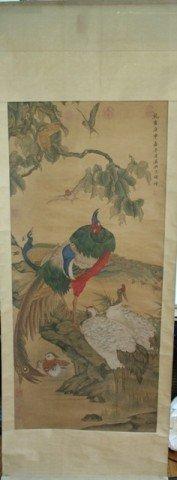 Chinese Qing Birds Scroll Painting Shen Quan