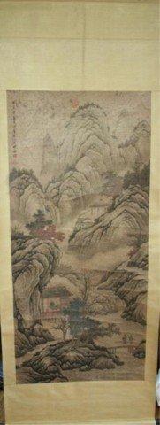 Chinese Qing Dynasty Landscape Scroll Wang Shimin
