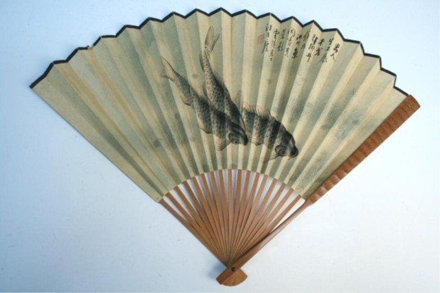 Chinese Mounted Fan Fish and Water Plants