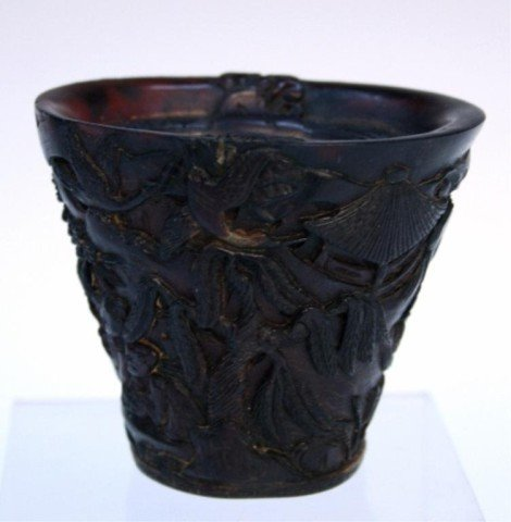 Chinese Carved Rhinoceros Horn Cup