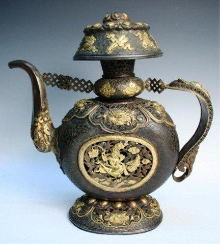 Large Bronze & Gilt Ewer/ Teapot 19th C.