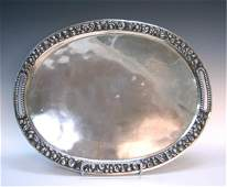 Russian Sterling Silver Serving Tray Marked HF