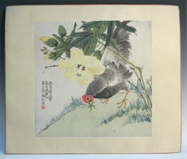Chinese Bird and Flower Painting by Chen Pei Qiu