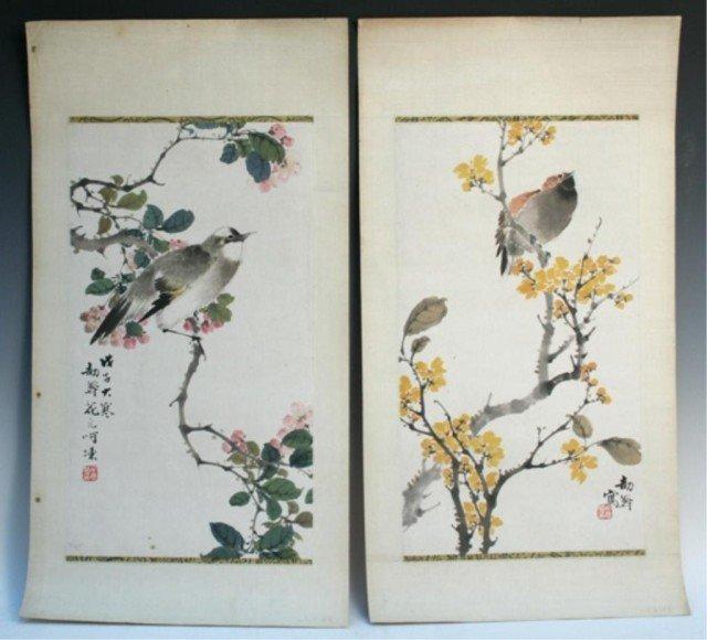 Chinese Bird & Flower Painting Pair by Hu Yuan