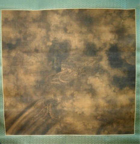 Large Chinese Ming Dynasty Dragon Scroll Painting
