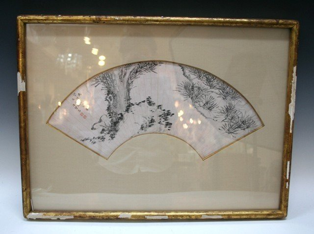 Chinese Framed Fan Painting 18th Century