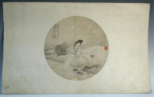 Chinese Round Silk Painting by Jiang Lian 19th C.
