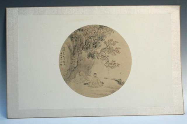 Chinese Round Silk Painting by He Chong