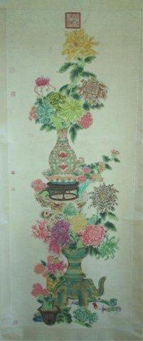 Chinese Scroll Flower Painting by Li Xi Tai Hou