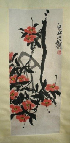 Chinese Scroll Painting of Flowers by Qi Baishi