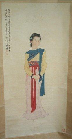 Chinese Scroll Painting of Beauty by Zhang Da Qian