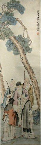 Chinese Huang Shan Shou Scroll Painting - 3 Elders