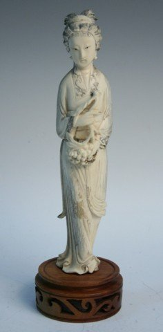 Chinese Carved Ivory Figure of Beauty 19th Century