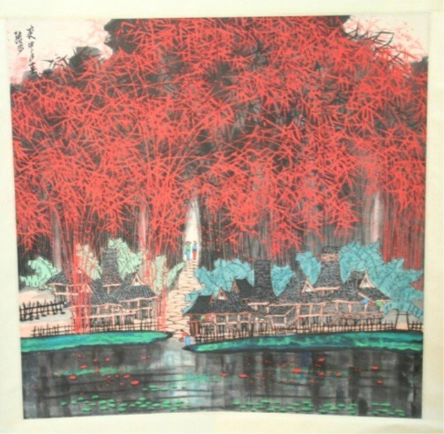 Chinese Zhang Bu Scroll Painting - Bamboo Forest