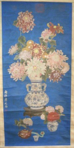 Chinese Silk Scroll Flower Painting Jiang Tingxi