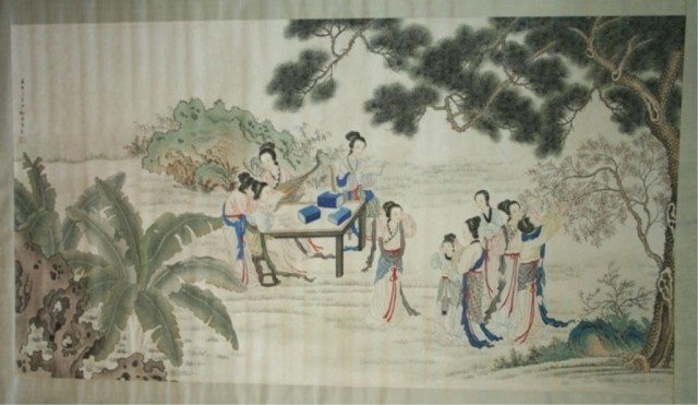 Chinese Scroll Painting of Women - Chen Shaomei