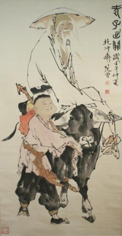 Chinese Jin Cheng Scroll Painting of Elder