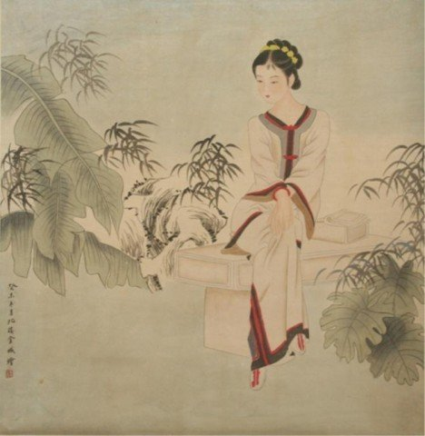 Chinese Scroll Painting of Beauty - Jin Cheng