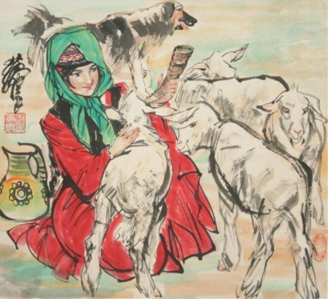 Chinese Scroll Painting of Woman & Goats