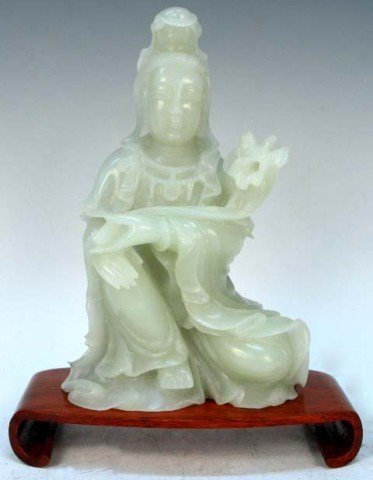 Chinese Carved White Jade Guanyin 20th C.