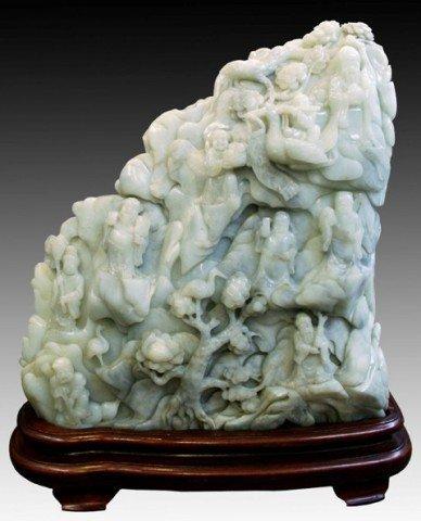 Chinese Xinjiang Jade Mountain & Figure Carving