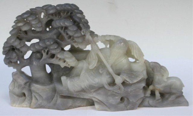 """Chinese Carved Jade """"Imprisonment of Su Wu"""""""