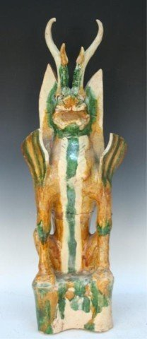 Chinese Sancai Pottery Earth Spirit Tang Dynasty