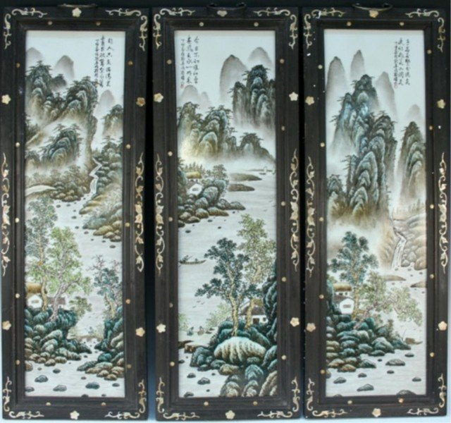 Lot of 3 Chinese Painted Plaques w/ Inlaid Frames