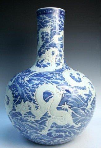 Large Chinese Porcelain Blue & White Dragon Vase