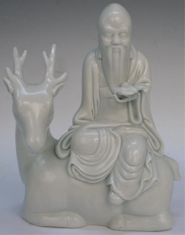 Chinese White Porcelain Scholar on Deer 19/20th C