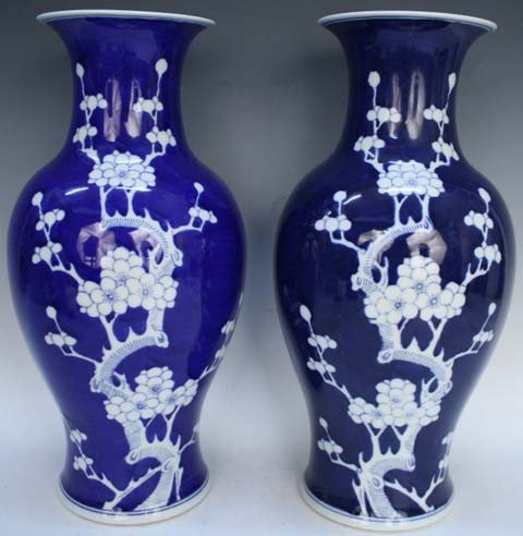 Chinese Pair of Blue & White Vases 20th Century