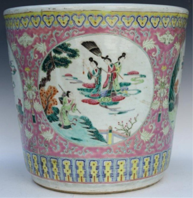 Chinese Pink Ground Famille Rose Planter 19th C
