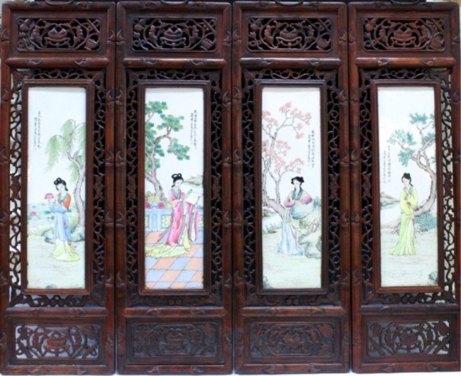 Set of Four Chinese Watercolor on Porcelain Panels