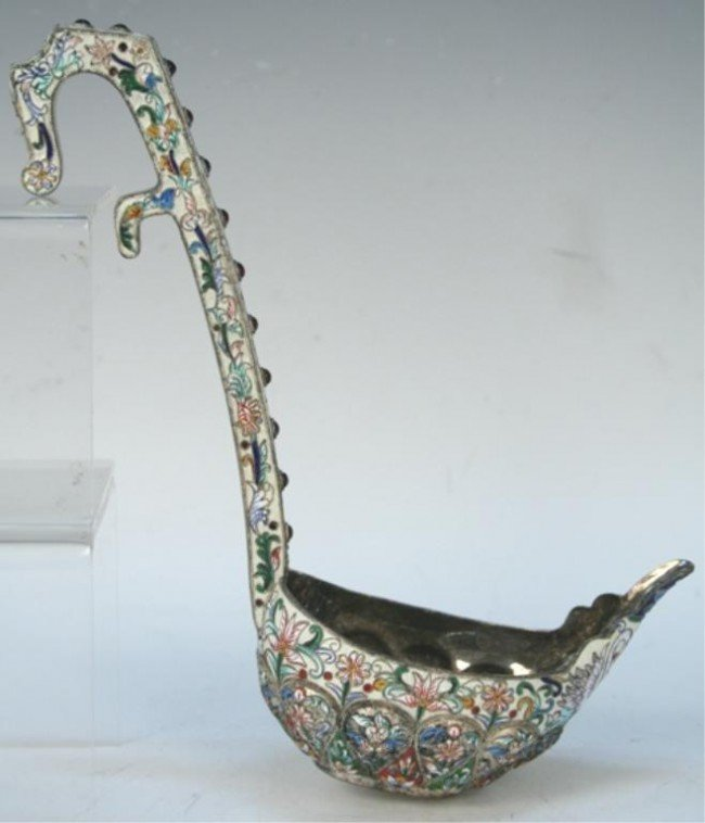 Russian Sterling Silver Cloisonne Kosh Cup Ladle