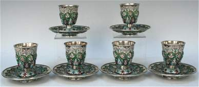 Set of 12 Russian Silver Vodka Cups & Saucers