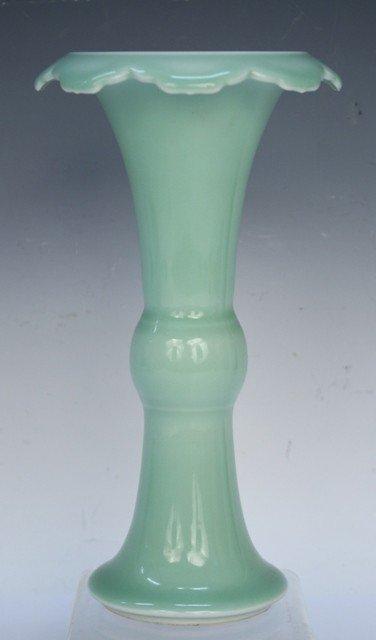 Chinese Republic Celadon Qianlong Beaker Vase