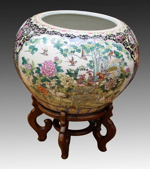 Large Chinese Famille Noir Fishbowl 20th Century